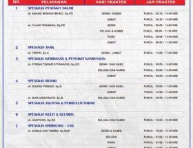 Jadwal Pelayanan Rawat Jalan RSUD Kelet Tahun 2021