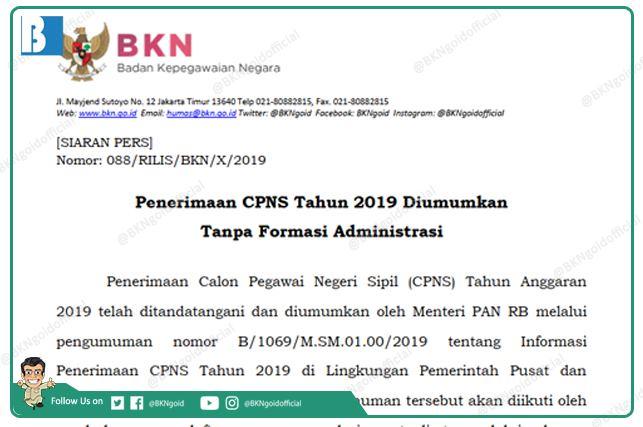 Penerimaan CPNS Tahun 2019 Diumumkan