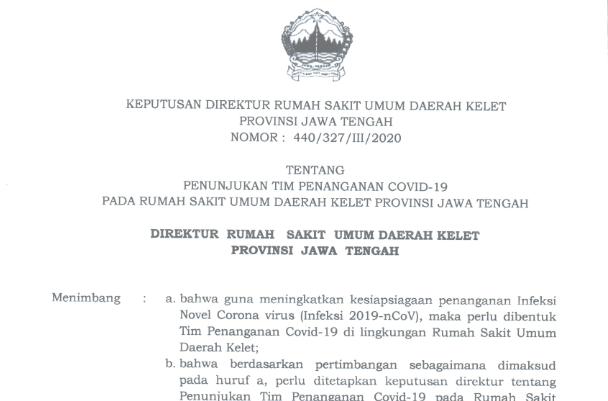 Surat Keputusan (SK) Direktur RSUD Kelet tentang penunjukan TIM penanganan COVID-19 di RSUD Kelet